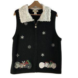 Kitty Cat Christmas Sweater Vest SZ XL Bechamel